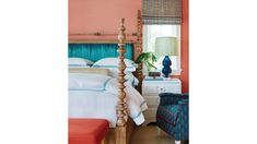 This New Palm Beach House Is Bursting With Old Florida Charm Guest room color, texture, pattern pops, lamp Yellow Sofa, Seaside Style, Coastal Colors, San Diego Houses, Old Florida, Step Inside, Formal Living Rooms, White Bedding, Beautiful Bedrooms