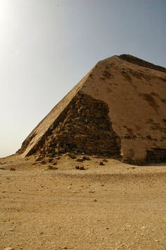 Bent Pyramid, Dahshur, Egypt - Pharaoh Snefru (c. 2600 BC). It's polished limestone outer casing is largely intact, unlike most Egyptian pyramids.