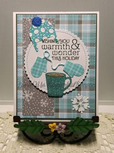 I've used the MFT die set to create this wintery wonder of hot cocoa (or is it coffee, LOL?) and elements for National Cocoa Day and the Winter Coffee Lovers Blog Hop.  TFL.