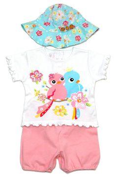 3 heilige Kombination mit T-Shirt und Vögelchen mit Shorts und dazu passender Mütze für Mädchen.