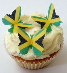 24 PRE CUT JAMAICA JAMAICAN Flag Olympic Fairy Cup Cake Toppers Rice Paper