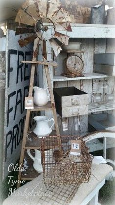 City Farmhouse Pop-up Show booth Rustic Farmhouse Decor, Farmhouse Chic, Country Decor, Rustic Decor, Industrial Farmhouse, Farmhouse Ideas, Country Farmhouse, Antique Booth Displays, Antique Booth Ideas