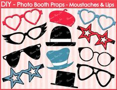 Printable Photo Booth Props DIY Glasses Hats by blossompaperart