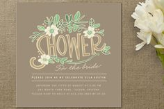Bridal shower invitations should be mailed eight weeks before the bridal shower, giving guests plenty of time to RSVP to this intimate and fun party for the bride-to-be. #bridalshower