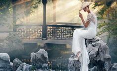 Model wear wedding dress for Badgley Mischka spring summer 2016 Bridal campaign