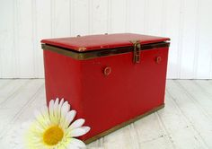 Retro Red Leather & Brass Jewelry Box  Vintage by DivineOrders, $41.00