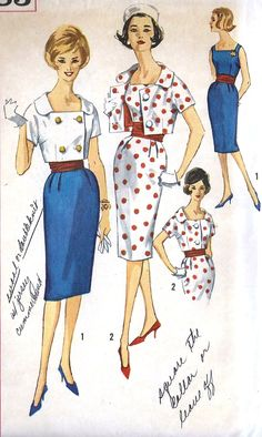 Simplicity 3883 Vintage Sewing Pattern, Misses' One-Piece Dress, Single and Double Breasted Jacket and Cummerbund:, Check offers for Size Seventies Fashion, 1960s Fashion, Timeless Fashion, Vintage Fashion, Fashion Art, Vintage Dress Patterns, Vintage Dresses, Vintage Outfits, 60s Patterns