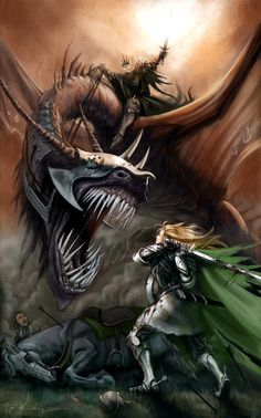"Eowyn and the Nazgul by Piya Wannachaiwong. ""Éowyn I am, Éomund's daughter. You stand between me and my lord and kin. Begone, if you be not deathless! For living or dark undead, I will smite you, if you touch him."""