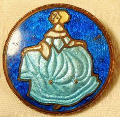 "Antique Deco Hand Painted Enamel on Copper ""Cinderella"" Pin/Brooch Walt Disney's #Unbranded"