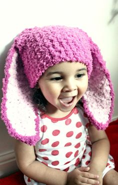 Check out 2T to 4T  Raspberry Pink Bunny Ears Childrens Bunny Hat Pink Girl Hat Crochet Toddler Bunny Beanie Kids Bunny Photo Prop on babamoon