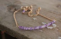 Bronze Amethyst Necklace Gem Stone Necklace  by DlightedJewelry