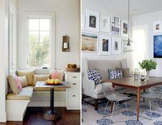 O canto alemão nada mais é do que um sofá ou banco de canto que geralmente ocupa duas paredes formando um L. É muito útil principalmente em salas de jantar