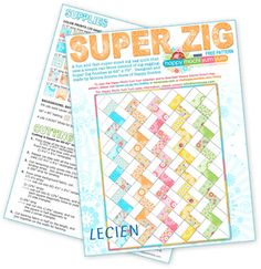 Free Easy Quilt Pattern: Super Zig from Lecien. Pretty pretty