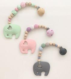 Beisskette silkon elefant mit Häkelperlen von MyDIYLoveDesigns