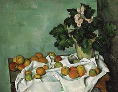 Paul Cézanne - Nature morte avec pommes et vase de primevères -  Metropolitan Museum of Art, New York