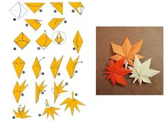 origami leaf - http://www.chine-culture.com/en/origami/flowers/origami-of-maple-leaf.php