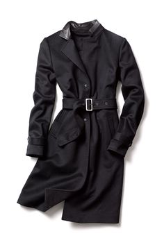 Back to School Fall's Coolest Coats: Kenneth Cole's classic black coat with leather collar trim. [Photo: Courtesy]