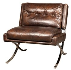 This Capetown Occasional Club Chair in antique brown leather merges the plush comfort of an Edwardian club chair with the tailored silhouette of mid-century modern seating. Lower and slightly backward tilting position with soft antique leather for supreme comfort. The leather used is 100% cowhide on the entire seat and back. This is a classic, high quality piece meant to make a statement and last a lifetime.