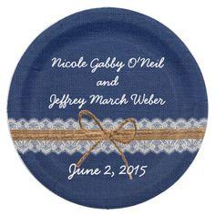 Monogram Faux Burlap & Lace Rustic Wedding Paper Plate | Burlap lace ...