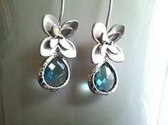 Narcissus with Blue Zircon Earrings  Wedding by LaLaCrystal, $32.00