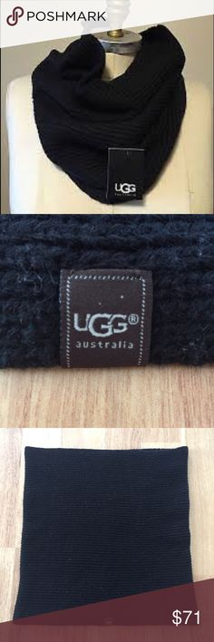 Ugg Australia Black Wool Blend Knit Infinity Scarf The first picture is the same Scarf and how it looks on! Mine is not new with tags but it's only been worn twice! ⚜️I love receiving offers through the offer button!⚜️ Great condition, as seen in pictures! Fast same or next day shipping! Open to offers but I don't negotiate in the comments so please use the offer button😊 the material is 50% Wool, 30% acrylic, and 20% nylon. It measures 32 inches around and 17 inches in length. UGG…