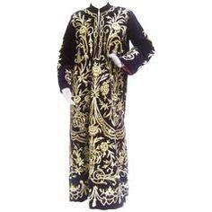 Exquisite Museum Worthy Aubergene Velvet Embroidered Metallic Caftan Robe