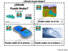 Spanish Where Can I Swim 2 Emergent Readers - Donde Puedo Nadar? from Sue Summers on TeachersNotebook.com -  (6 pages)  - 1 with text and images, 1 with text only so students can sketch and create their own version of the booklets.