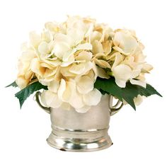 Lend a pop of natural style to your entryway console table or vanity top with this lovely faux hydrangea arrangement, nestled in a handled metal pot.