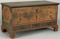 Late 18th-century Lehigh Valley, Pennsylvania, painted dower chest.