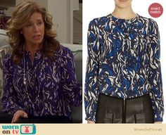 Last Man Standing Fashion: Isabel Marant Pleated print blouse worn by Nancy Travis Nancy Travis, Last Man Standing, Printed Blouse, Isabel Marant, Fashion Beauty, Ruffle Blouse, Fashion Outfits, Chic, My Style