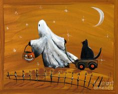 Halloween ghost with black cat painting by sylvia pimental Halloween Painting, Halloween Prints, Halloween Images, Halloween Ghosts, Holidays Halloween, Vintage Halloween, Halloween Meals, Halloween Decorations, Country Halloween