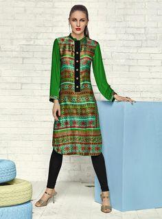Green Satin Printed Readymade Kurti 84866