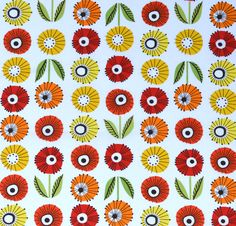 Summerhome – Swedish Flower £12.80 per metre A simple Scandinavian style flower print by Hemma design.To give an idea of scale the leaf measures 3cm.