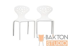 Durante White Stackable Molded Plastic Chair | Affordable Modern Design | Baxton Studio