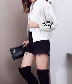 L1105 Wholesale Fashion Clothing 2017 Women Denim Jacket Fall & Winter White & Black Embroidered Baseball Jean Coats Plus Size - Buy Winter Clothes For Women,Women Plus Size Winter Coats,Jacket Coat Women Product on Alibaba.com