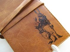 Leather journal or sketchbook featuring rabbit team with by inblue, $25.00