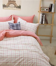 Gingham Stripes And Plaids Pink Bedding Duvet Cover Set Gift Idea Girls Bedding Teen Bedding Kids Bedding, Full Size -