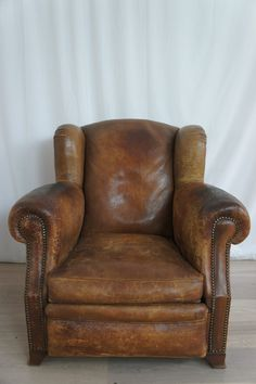 French Wing Backed Leather Armchair Cigar Club, Mid Century Chair, Mid  Century Furniture,