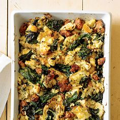 Italian Chard Stuffing -Excellent. I always add pignoli nuts halfway through, if I've run out, chopped walnuts, pecans, or almonds work as well. Chopped spinach (extremely well dried of moisture) is a fine subst for the Chard.  Other additions which complement the sausage well; chopped apple, thickly sliced mushrooms, leeks or chopped sweet onions. Soooo good you'll always make a double tray.