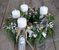 Christmas Ornament Crafts, Christmas Wreaths, Christmas Decorations, Table Decorations, Holiday Decor, Christmas And New Year, Winter Christmas, Xmas Flowers, Advent Wreath