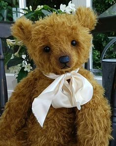 "Berwyn -20"" traditional, chocolate caramel mohair teddy bear by Humble-Crumble Bears"