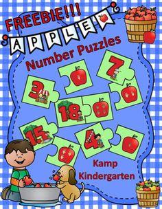 """I added """"Apple Number Puzzles FREEBIE by Kamp Kindergarten"""" to an #inlinkz linkup!     https://www.teacherspayteachers.com/Product/Apple-Number-Puzzles-FREEBIE-2765267"""