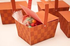 Picnic Basket Favor Box : DIY Printable Weaved Wood Basket PDF - Instant Download от PiggyBankParties