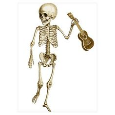 Ukulele Skeleton Wall Art Poster