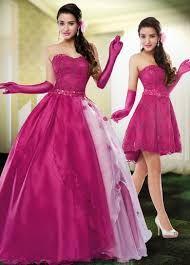 Resultado de imagem para vestido de 15 anos 2 em 1 roxo