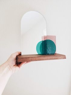 Look At Me - Teal & Pale Purple Glass Modern Vanity Mirror on Wood Base Stained Glass Mirror, Modern Stained Glass, Custom Stained Glass, Jewelry Organizer Wall, Hanging Organizer, Wall Organization, Glass Vanity, Jewelry Mirror, Modern Vanity