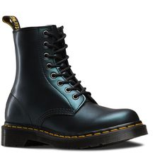 Dr. Martens 1460 Tracer ($75) ❤ liked on Polyvore featuring shoes, boots, green, leather boots, metallic booties, dr martens boots, leather ankle booties and leather lace up booties