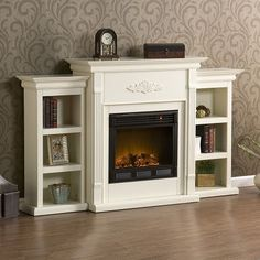 Free Standing Electric Fireplace Mantle Media TV Storage Stand Heater White