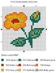 disegno punto croce fiore 007