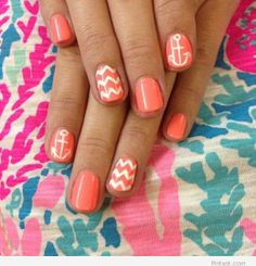 Blue instead of the coral color and no white zigzag marks just the anchor!! Totes would do!!